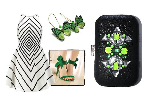 Como combinar vestido blanco y negro con complementos y bolso joya