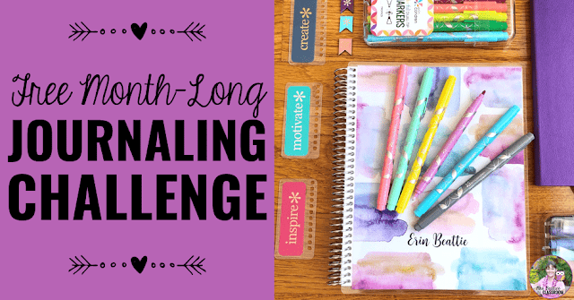 "Image of journaling supplies with text, ""Free Month-Long Journaling Challenge."""