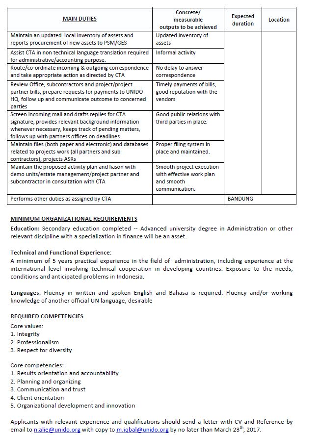 Lowongan Kerja UNIDO - Project Asistant