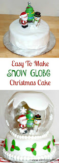 Easy to make snow globe Christmas cake. Works with a sponge cake or a traditional fruit cake. Using a rose bowl and some Christmas decorations