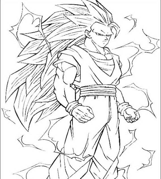 Goku Super Como Sayayin Fase 3 Para Colorear 4 Dibujo