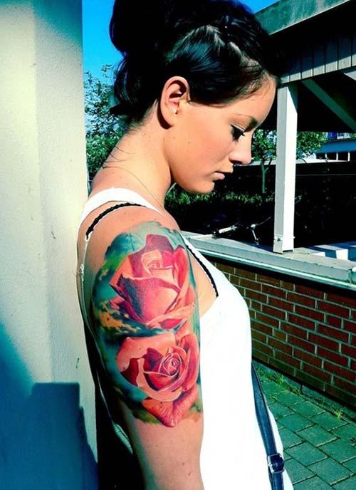 watercolor rose tattoo renkli gül dövmesi
