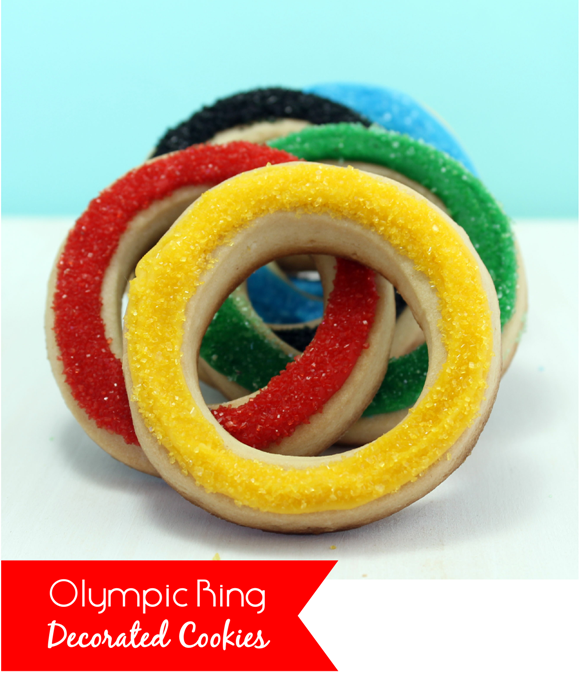 DIY Olympic Ring Sugar Cookies Recipe - via BirdsParty.com