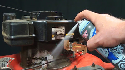 Using Brake Cleaner to clean a grimy lawnmower engine