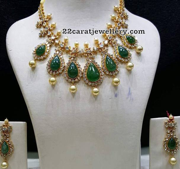 Large Emerald Cz Studded Necklace