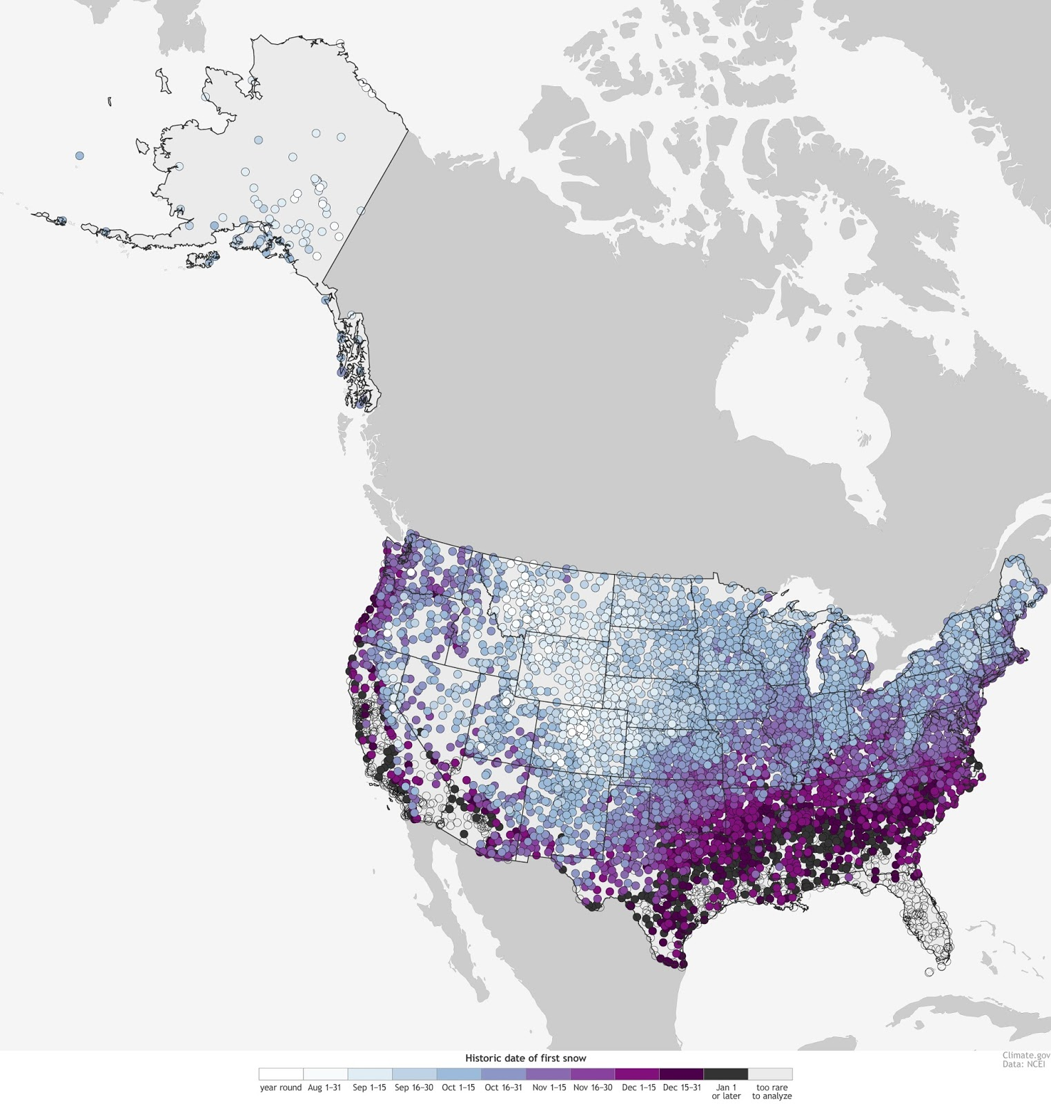 First snow dates in the U.S.