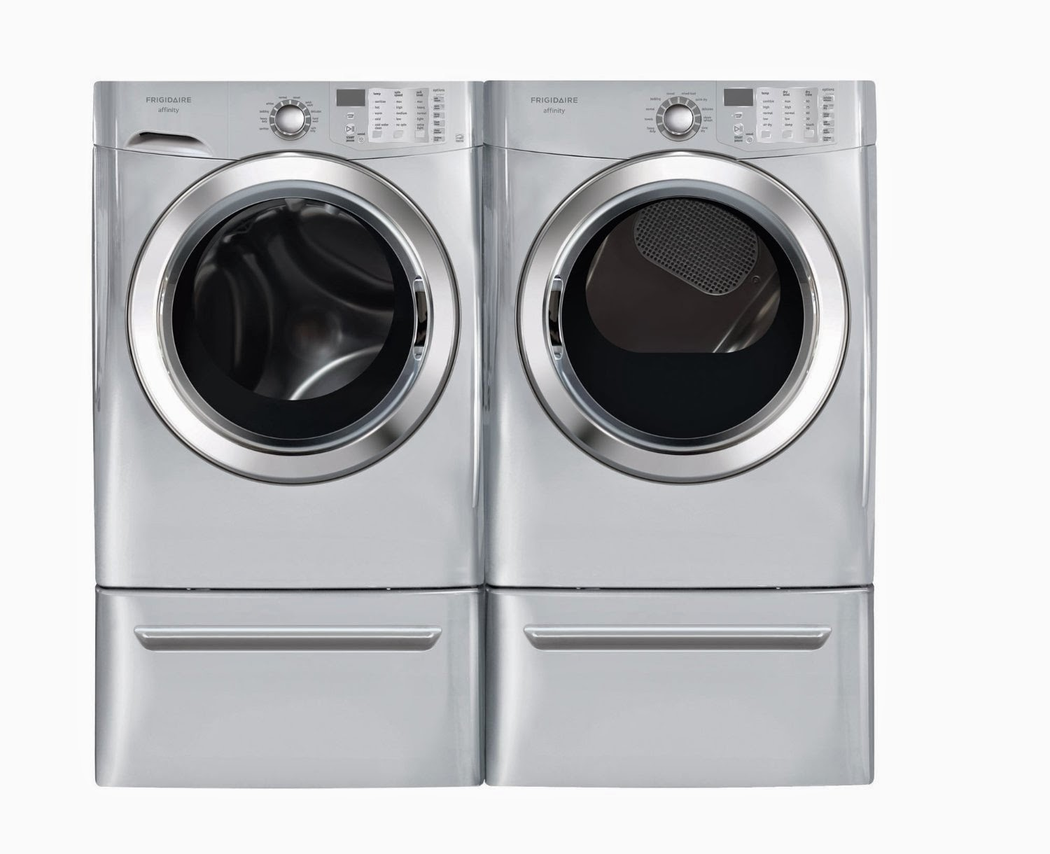 Frigidaire Affinity Silver 3 8 Cf Front Load Steam Washer Dryer Laundry Set With Pedestals