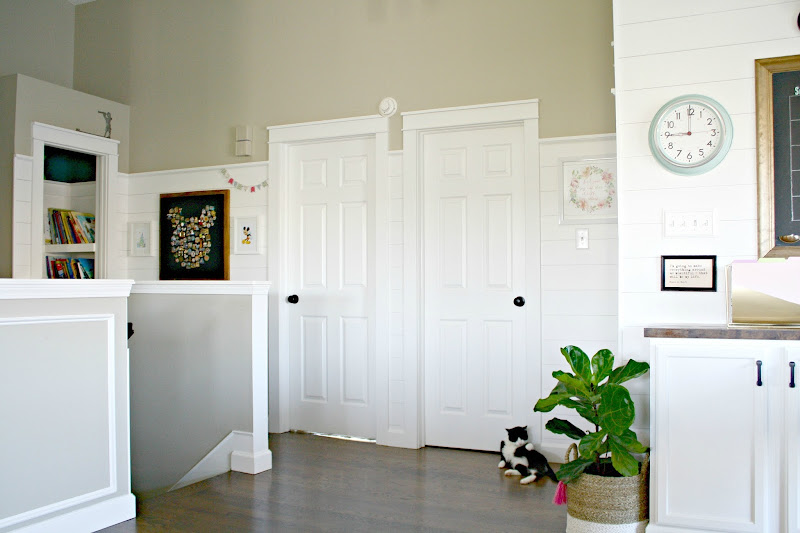 farmhouse door trim and shiplap walls