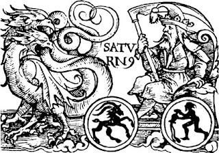 Imagen de un anciano con una guadaña en un carro tirado por dragones