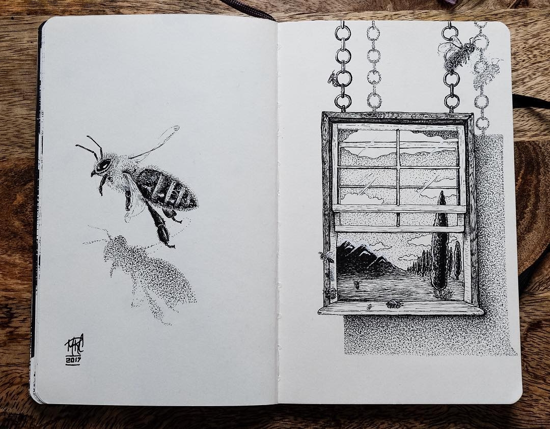 06-Honey-Bees-Wondering-mrc_artworks-Sketching-Inspirations-on-a-Moleskine-Notebook-www-designstack-co