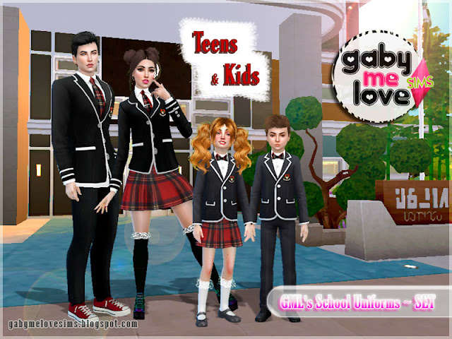 GML's School Uniforms ~ SET (Sims 4). By. Gabymelove