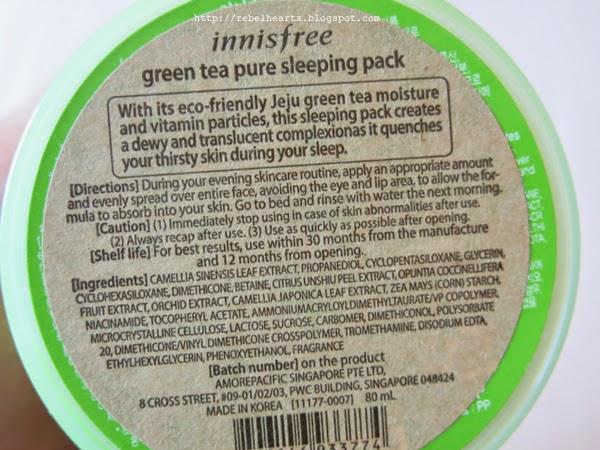 rebelheartx: Review: Innisfree Green Tea Pure Sleeping Pack