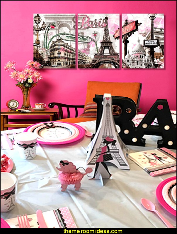 Party in Paris Birthday Party Decorations  Paris party decorations - Paris themed party supplies - Party in Paris Birthday Party Decorations  -  Pink Paris Party -  Paris party balloons - Eiffel Tower Favor Boxes -  French-themed celebration  - Pink Poodle Paris Theme Birthday Party