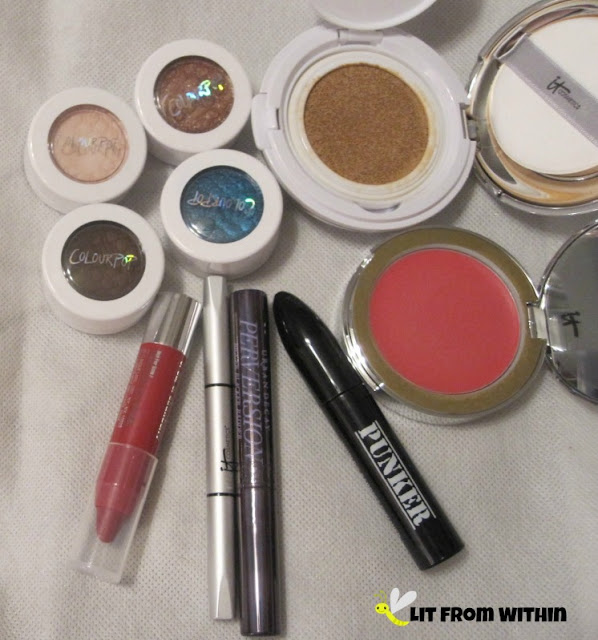 What I used:  It Cosmetics CC+ Veil Beauty Fluid Foundation, CC+ Vitality Brightening Creme Blush in Je Ne Sais Quoi, and Brow Power in Universal Taupe, Colour Pop Super Shock shadows in Onai, DGAF, Farah, and Coconut, Ardency Inn Eyeliner in Punker, UD Perversion mascara, and Clinique Chubby Stick in Super Strawberry.