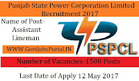 Punjab State Power Corporation Limited Recruitment 2017 – 1500 Assistant Lineman