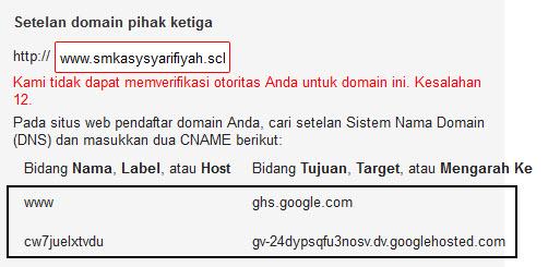 alamat cname blogspot