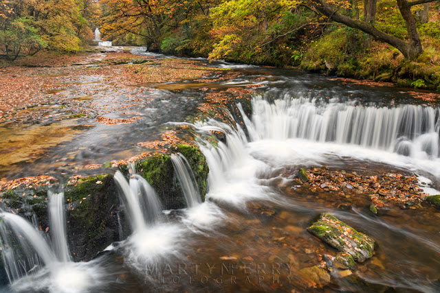 Brecon Beacons river at Horseshoe Falls under autumn colour by Martyn Ferry Photography