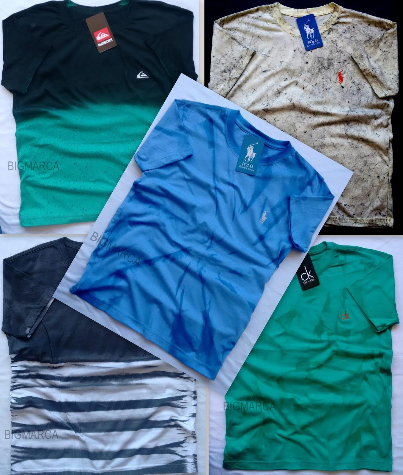 a236354c51c CAMISETA MARMORIZADA (lavada) c  bordado - grifes famosas - Preços à partir  de R  13