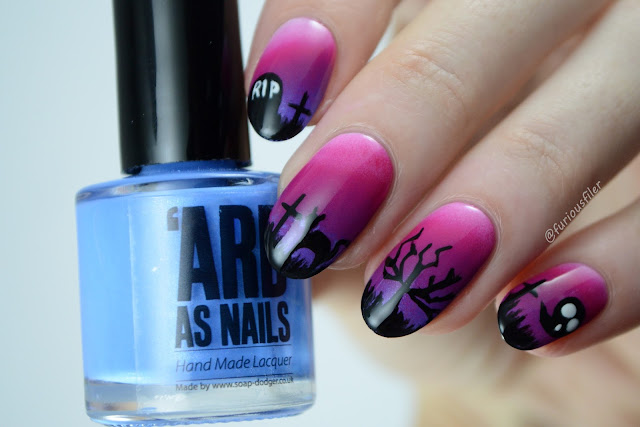 Creepy Halloween graveyard gradient Nails furious filer shadows