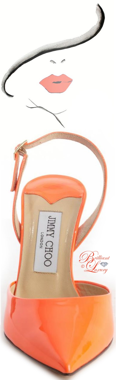 Brilliant Luxury ♦ Jimmy Choo Neon Flame Leather Pointed Toe Slingback Tilly Pumps