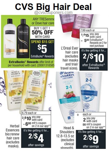 Head & Shoulders, Herbal Essences,Garnier, Tresemme deals