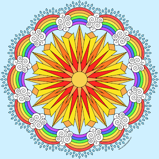 Sun and rainbows coloring page example- blank version available