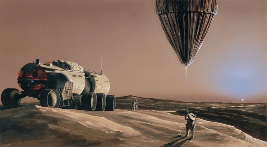 Astronauts and rover on Mars by Manchu
