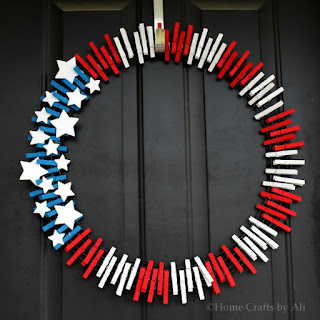 red white and blue diy clothespin wreath