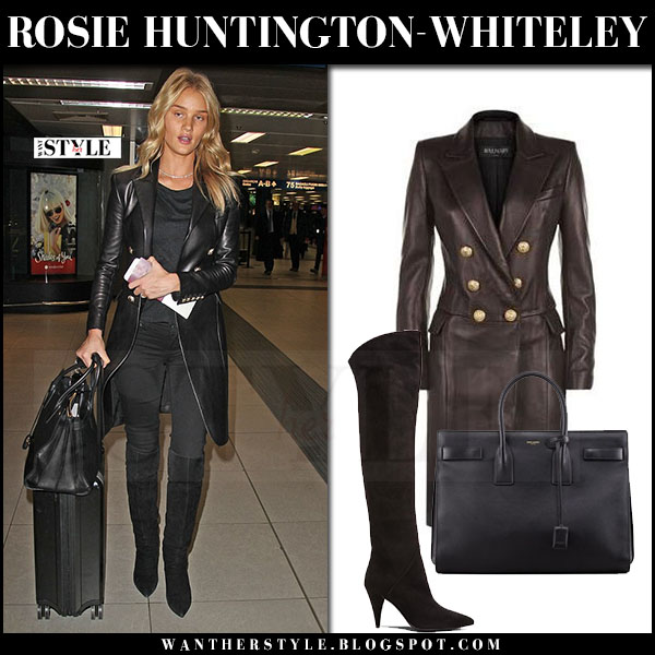 Rosie Huntington-Whiteley in black leather coat balmain and black suede boots saint laurent what she wore