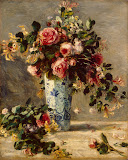 Roses and Jasmine in a Delft Vase by Pierre-Auguste Renoir - Flowers, Still Life Paintings from Hermitage Museum