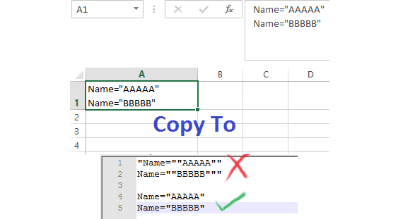 excel copy content without double quote
