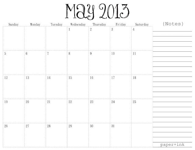 Free Printable Calendar: May 2013