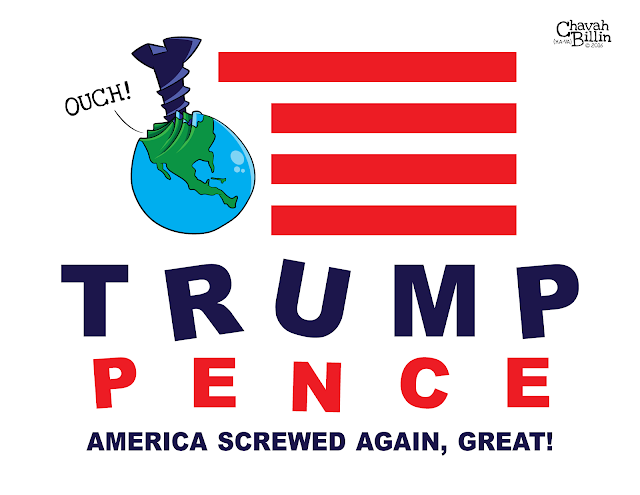 TRUMP PENCE CAMPAIGN LOGO Editorial Cartoon