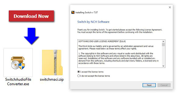 An image demonstrating how to download and install Switch Audio File Conversion Software