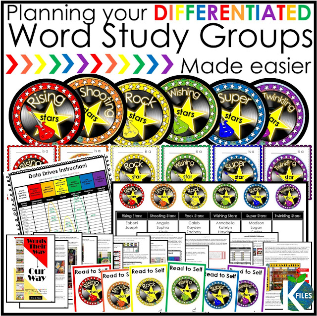 Read To Self: Differentiate your Word Study groups (with or without Words Their Way)! This resource is proven to help make your planning, organization, routine & implementation of differentiated Word Study and Spelling groups much easier! Your Daily 5 literacy centers and rotations or stations will run smoothly as your students will be focused on meeting their spelling & phonics goals. This resource has a Rock Star and Spelling Super Star theme that motivates students.