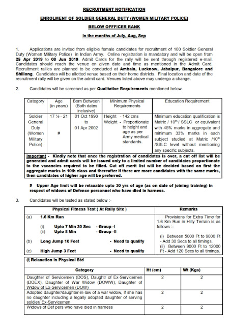 Enrolment of Soldier General Duty(women military police) jobs in Indian Army
