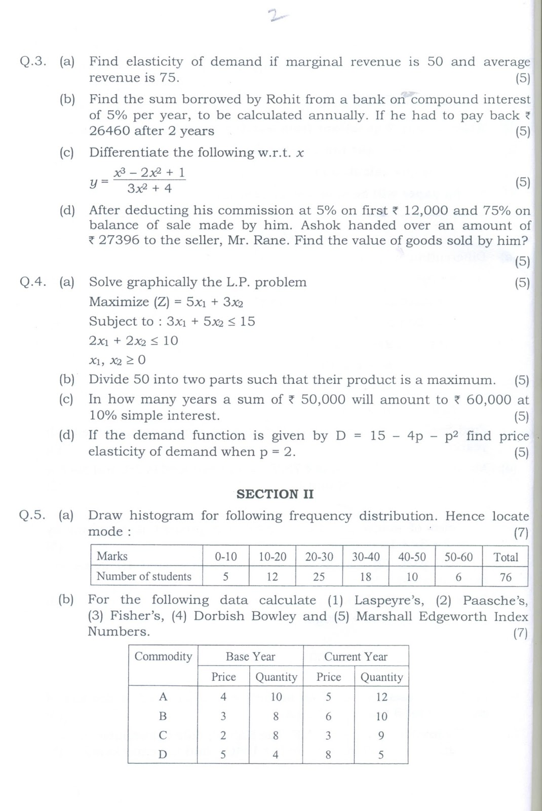 Question Papers Collection: ATKT FYBCOM (MATHS & STATS OLD)