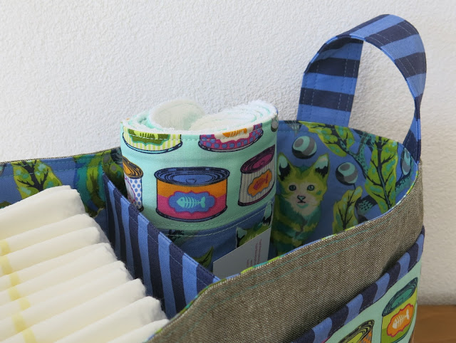 Luna Lovequilts - Divided Basket lining - Tabby Road fabric collection by Tula Pink