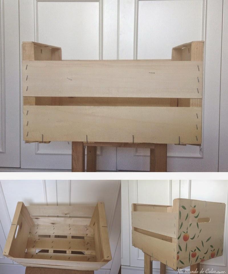 reciclar caja de frutas para hacer caja de juguetes