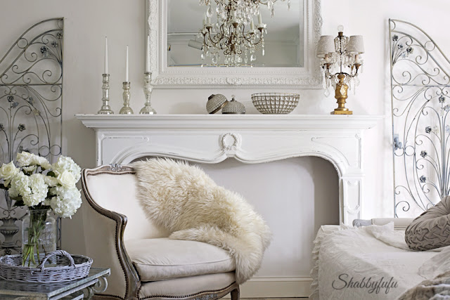 french living room styled with grey accents for winter