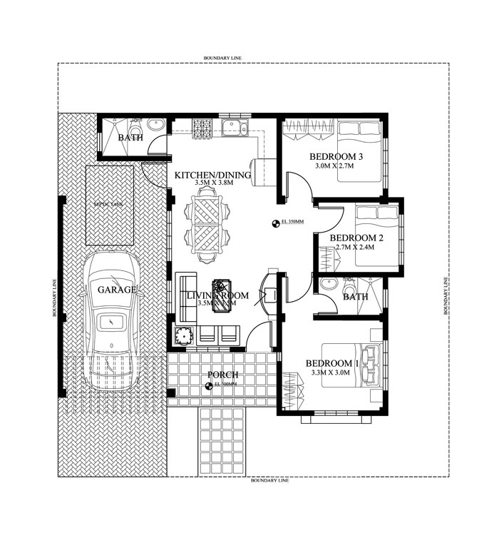 Single story small home blueprints and floor plans for 90 for 150 square meters house floor plan