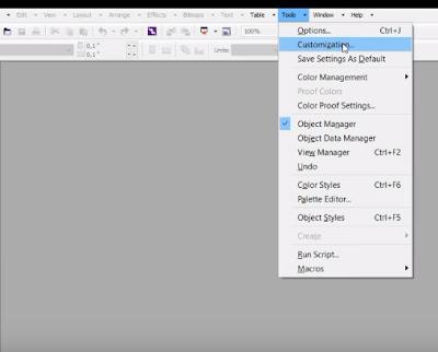 """""""pilih menu tools customizing di corel"""""""