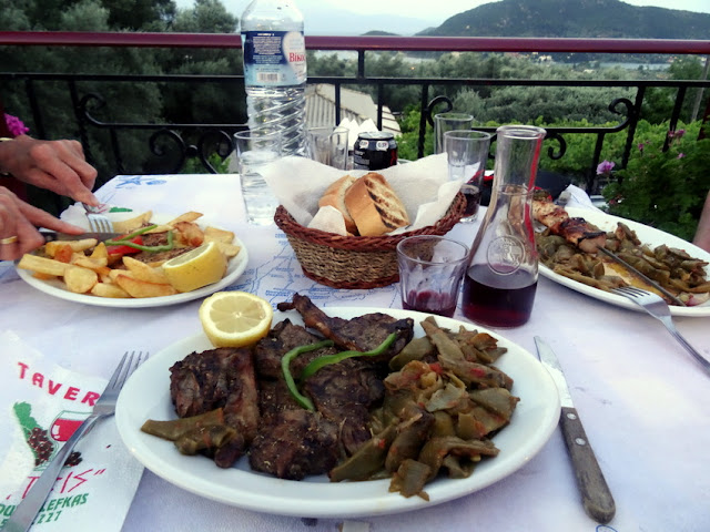 Lefkada, Greece: Mountain Restaurant ?Taverna Dimitris?  with Views to Nydri and Geni