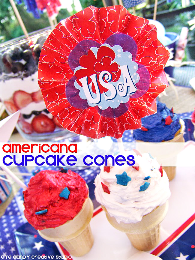 Americana cupcake cones, red white & blue, 4th of july dessert idea