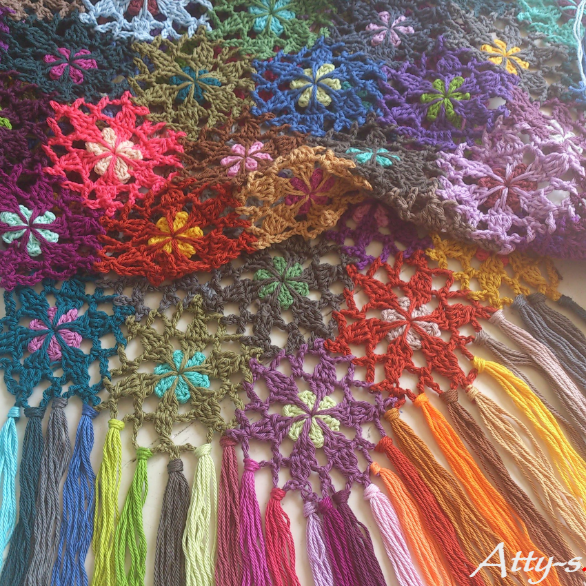 Flower Scarf with leftovers - free crochet pattern by Atty's