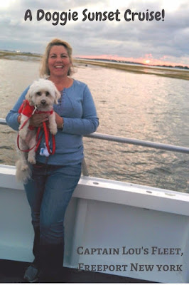 We took our dog Phoebe on a Doggie Sunset Cruise around the harbor in Freeport, Long Island NY #dogfriendly #dog  #dogfriendlytravel