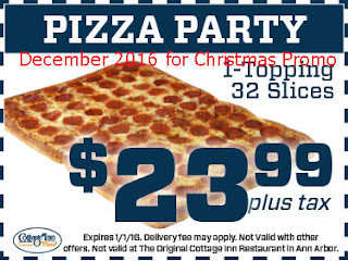 free Pizza Inn coupons december 2016