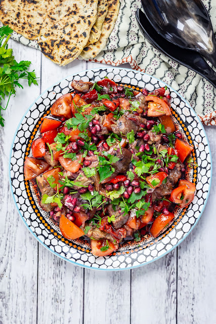 Smoky Aubergine Salad with Red Pepper