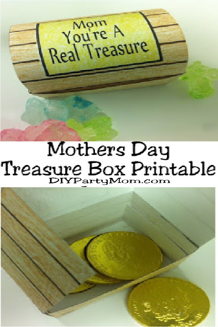 Celebrate the treasure your mom is with a fun Treasure Box Printable that's perfect for Mother's Day.  Fill this printable with fun chocolate treasures or other candy treats for a real treat for mom.  #mothersdaygift #mothersdayprintable #piratetreasurebox #diypartymomblog