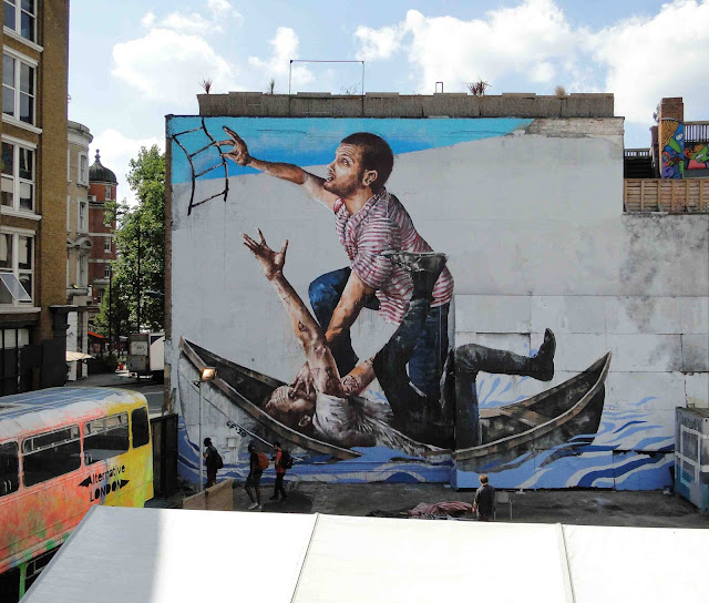 "Fintan Magee's ""Survival Of The Fittest"" Street Art Mural In East London, UK. - landscape view"